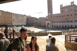 The Palio di Siena takes place on 2nd July and 16th August. They were prepping the grounds for the race