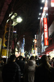 Downtown in Shinjuku, lots of food, games and er... it's a red-light district also :/